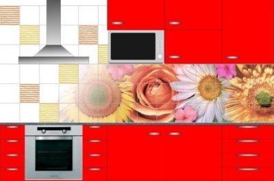 Фартук на кухне располагают вокруг рабочей зоны