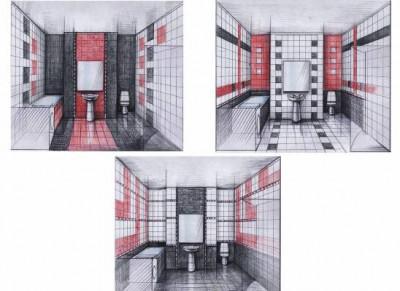 Разные схемы отделки ванной
