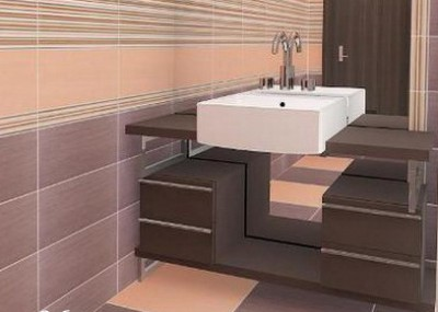 Серо-коричневый цвет в интерьере ванной