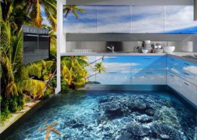 Наливные 3d полы на кухне