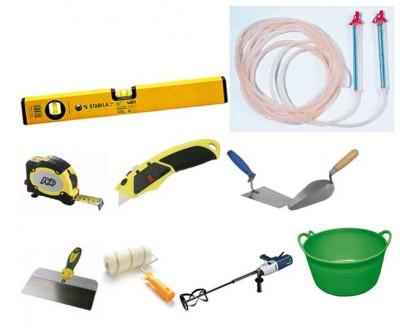 Набор необходимых инструментов для стяжки пола