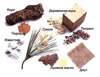 Природные компоненты натурального линолеума