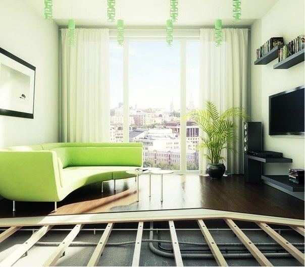 Фальшпол из фанеры на регулируемых лагах -Фальшполы для квартир. Регулируемые полы -Типы Фальшпола