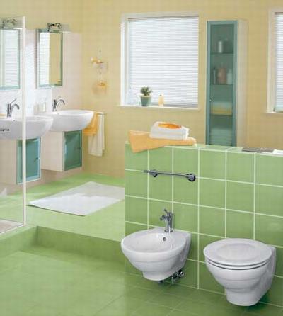 Теплая цветовая гамма интерьера ванной