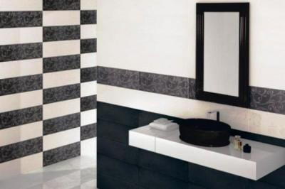 Дизайн плитки для туалета: фото черно-белого декора
