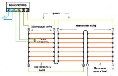 Инфракрасный карбоновый теплый пол - схема подключения
