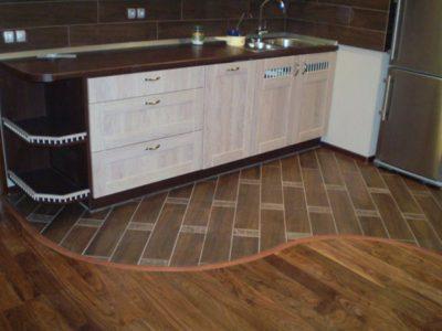 Пол в кухне: плитка с ламинатом
