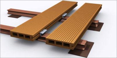 Террасные доски легко закрепляются на лагах с помощью металлических клипс