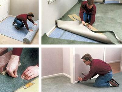 Способ укладки ковролинового покрытия на планки