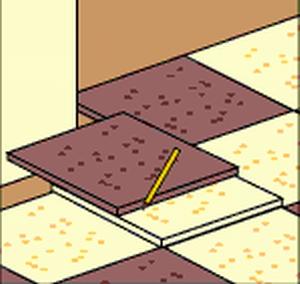 Разметка на плитке контура угла