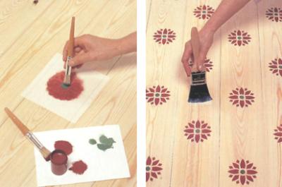 Нанесение краски через трафарет и покрытие пола лаком