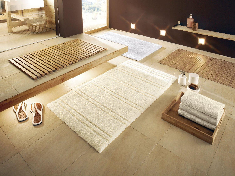 for Tapis bois salle de bain