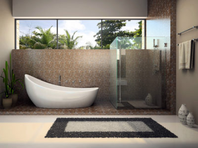Черно-белый коврик на полу дополняет цветовую гамму ванной комнаты