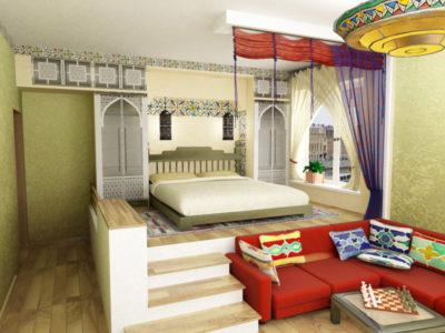 Часть спальни на высоком подиуме выглядит как отдельная комната