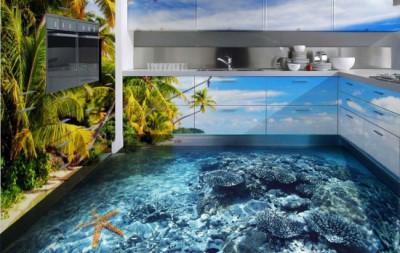 Объемное изображение наливных полов создает атмосферу морского побережья