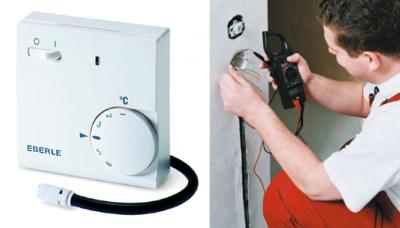 Термостат монтируется в выбитое в стене углубление так же, как и обычный выключатель