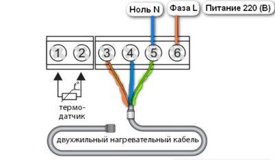 Схема подключения двужильного кабеля
