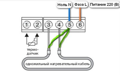 Схема подключения одножильного кабеля