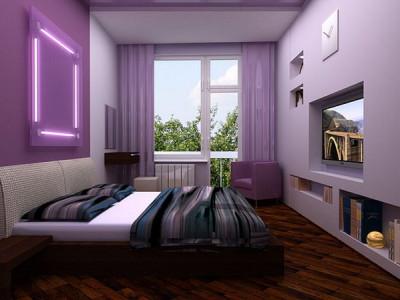 Спальня в фиолетово-коричневых тонах