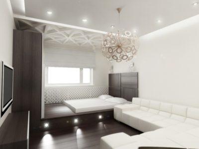Интерьер с темным полом, белыми стенами и потолком