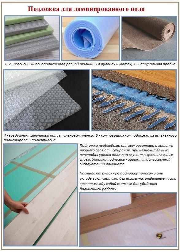 Правила укладки ламината - использование подложки