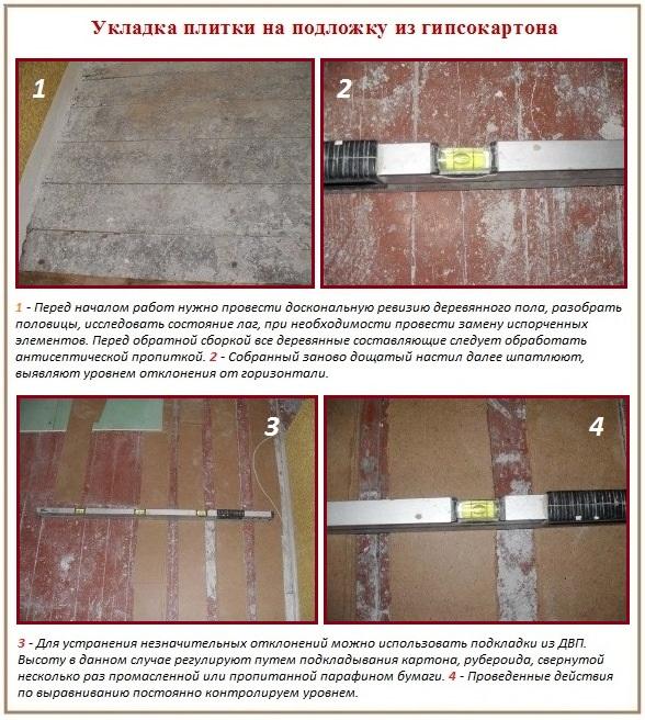 Выравнивание гипсокартоном для укладки напольной плитки