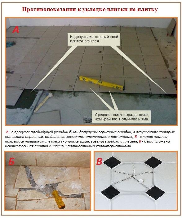 Можно ли класть плитку на плитку, уложенную с нарушениями