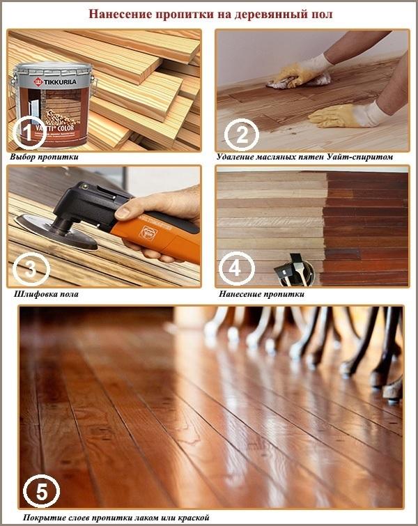 Нанесение пропитки на деревянный пол