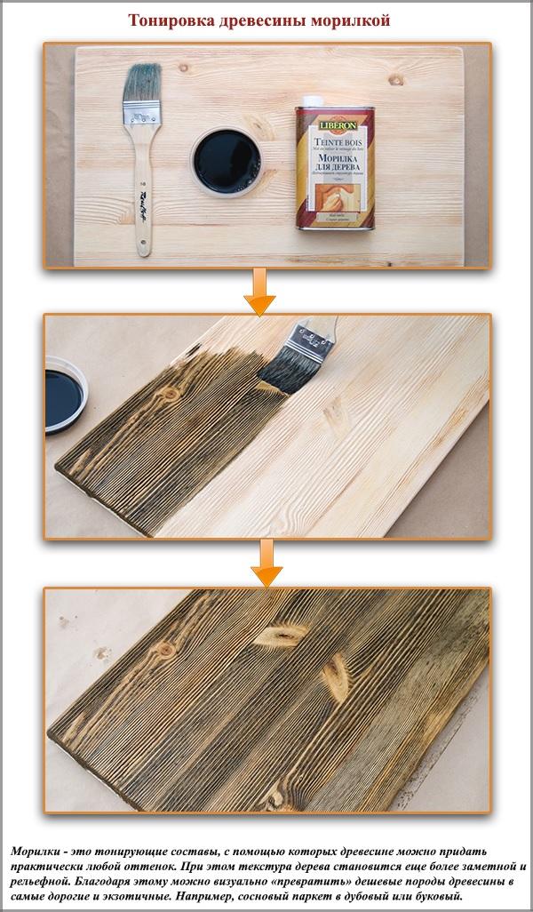 Тонировка древесины морилкой