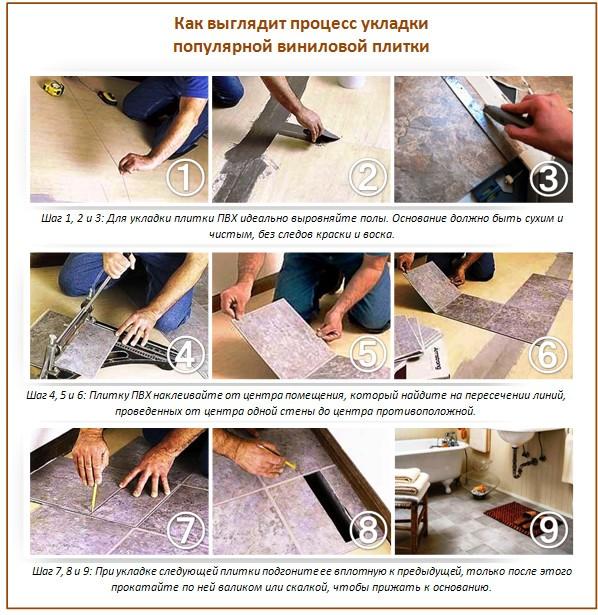 Плитка пвх для пола укладка своими руками