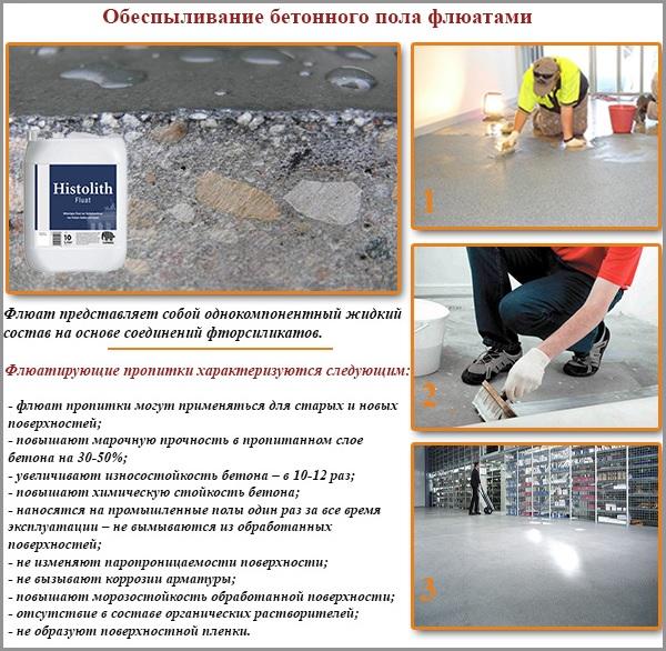 Обеспыливание бетонного пола флюатами