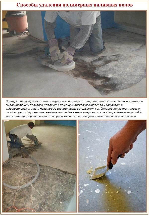 Как можно снять полимерный наливной пол