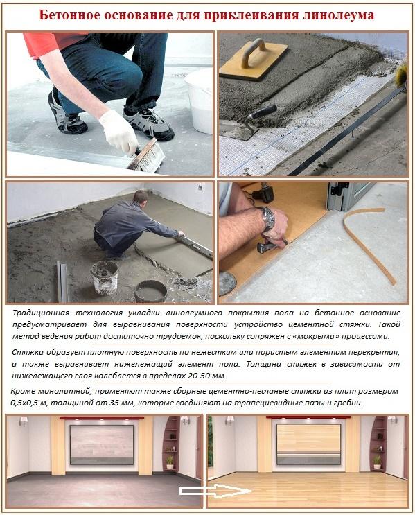 Как приклеить полотна линолеума к бетонному полу