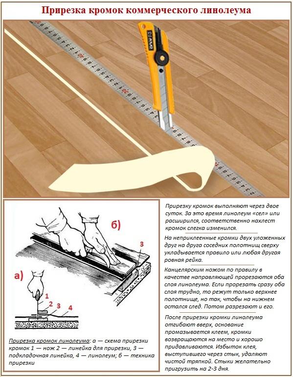 Как правильно прирезать швы линолеума