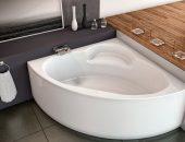 Угловая акриловая ванна белого цвета