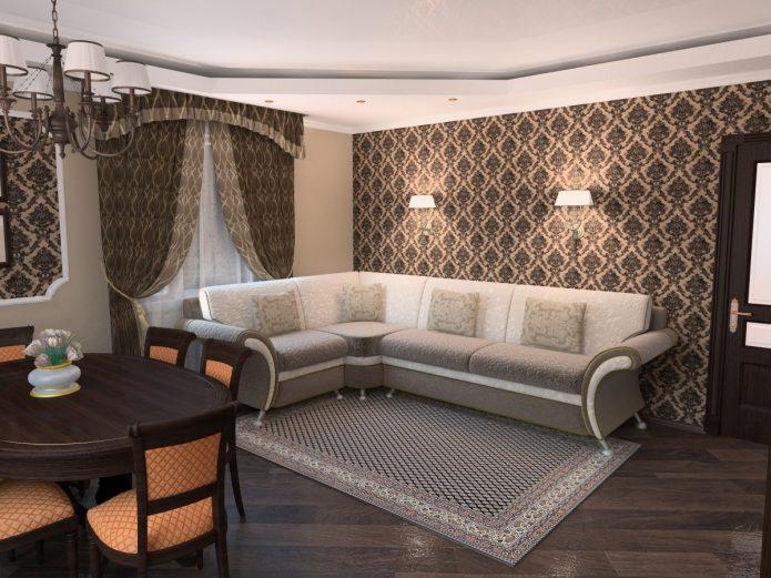 Гостиная с серым ламинатом классического стиля