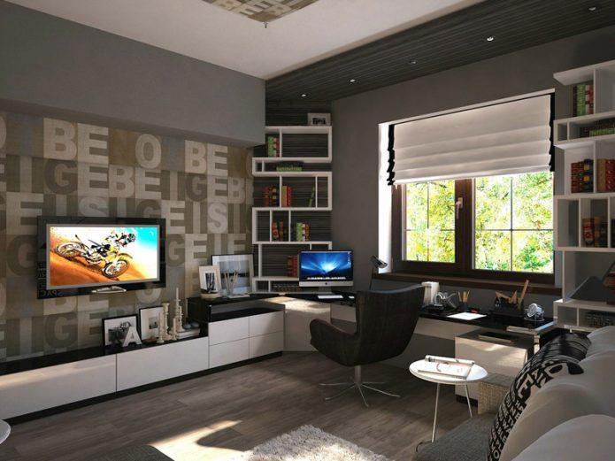 Современный интерьер комнаты для подростка в серых оттенках