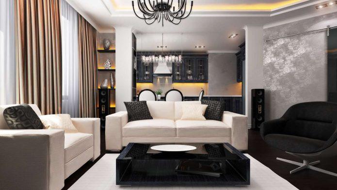 Дизайн небольшой гостиной с темным полом и светлой мебелью