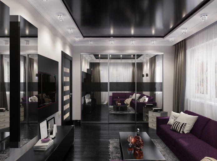 Дизайн гостиной в тёмных тонах