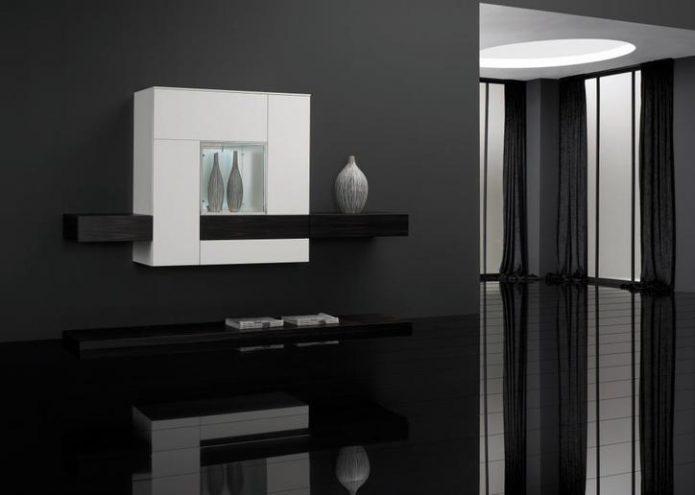 Глянцевый ламинат в интерьере большой комнаты