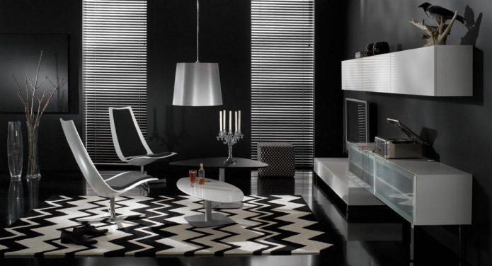 Дизайн комнаты в черно-белых тонах