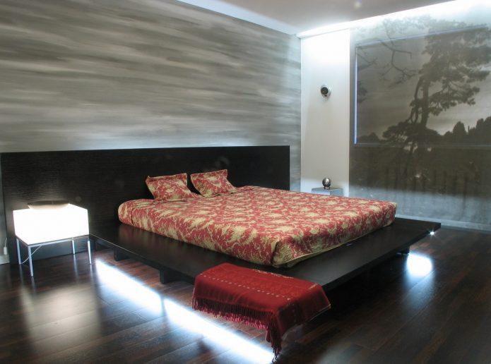 Спальня в стиле минимализм в темных тонах