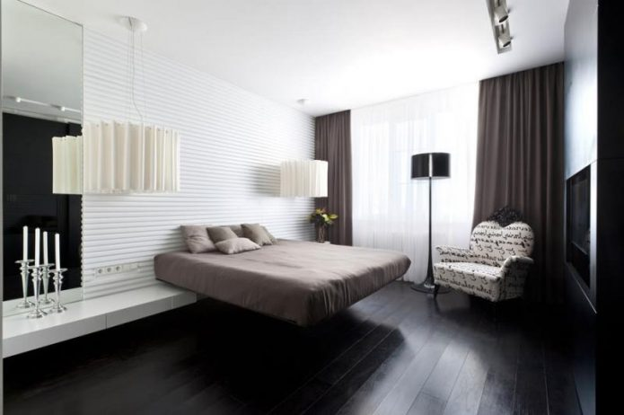 Дизайн спальни с полом черного цвета
