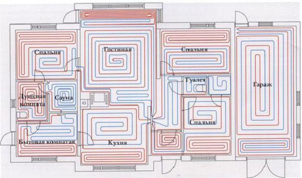 Схема расположения контуров теплого пола в помещениях дома