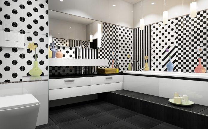 Горошек, полосы и шахматный рисунок в дизайне плитки для ванной