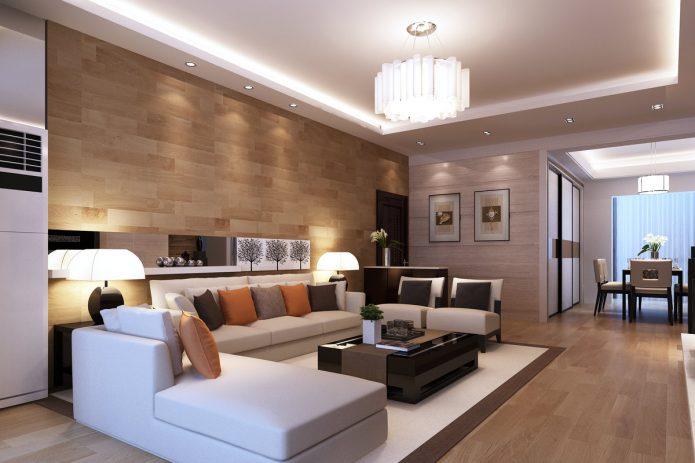 Светлый ламинат в гостиной
