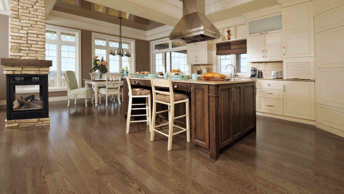 Ламинат под древесину в кухне
