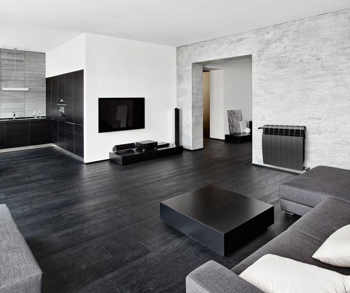 Лаконичный дизайн интерьера с чёрным ламинатом