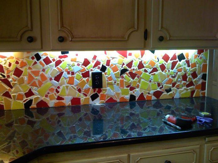 Фартук из плиточной мозаики