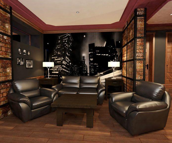 Комната для отдыха в подвале